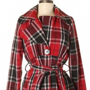 NWT Red Plaid Trench Coat With Tie Belt
